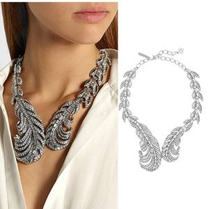 Jewelry - Silver crystal feather statement necklace